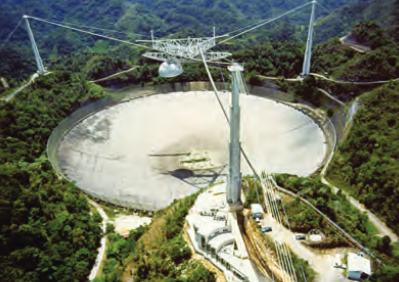 Dünya'nın en büyük sabit radyoteleskobu Arecibo. Puerto Rico'da dağlar arasında kurulmuştur.