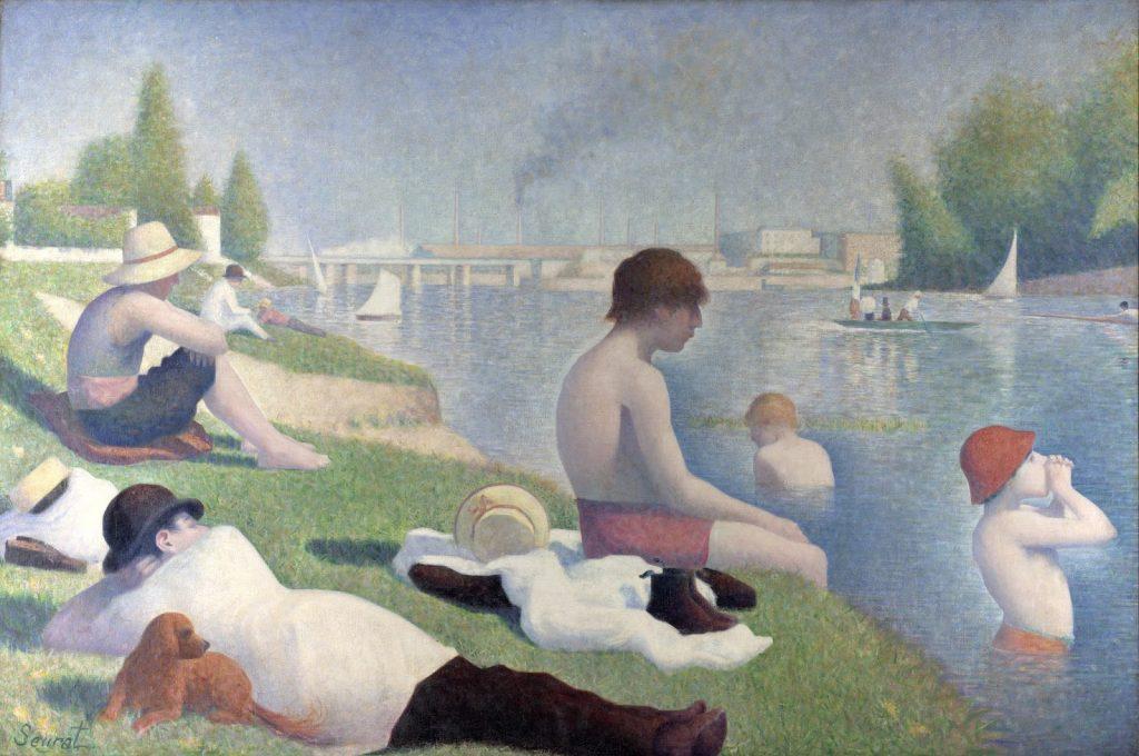 """""""Asnieres'de Yıkananlar"""", 1884, Georges Seurat Tuval Üzerine Yağlıboya, Londra Ulusal Galeri, Londra"""