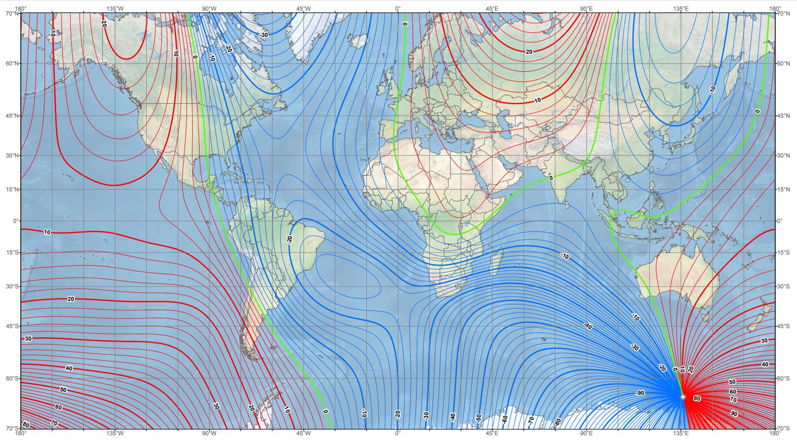 Dünya Manyetik Model (Alan) Haritası - 2019