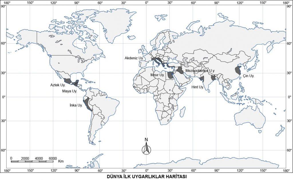 Dünya İlk Uygarlıklar Haritası