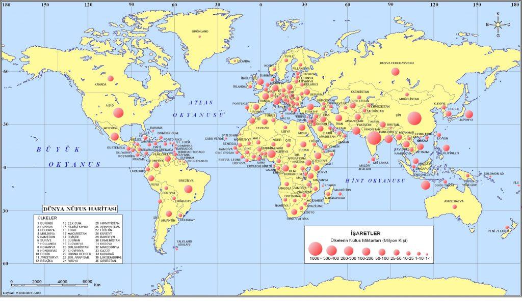 Dünya Nüfus Miktarı Haritası