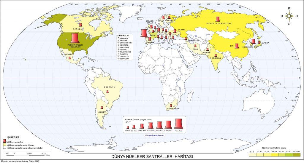 Dünya Nükleer Santraller Haritası