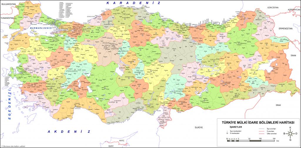 Türkiye Mülki İdare Haritası 2 (İl İlçe)